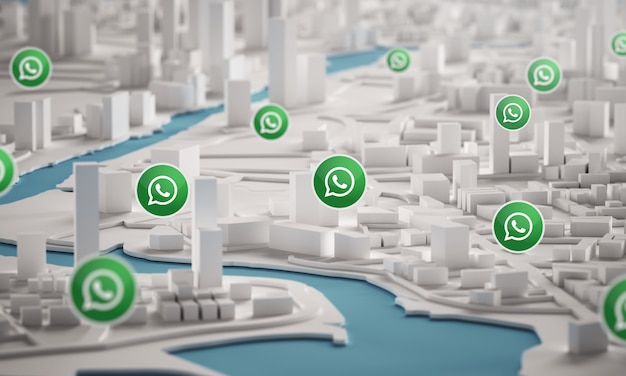 Whatsapp icon over aerial view of city buildings 3d rendering