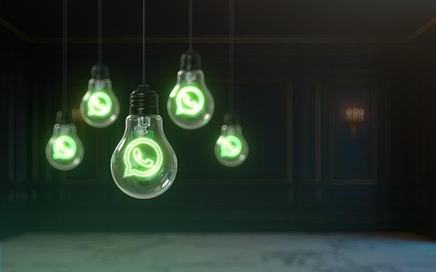 소셜 배너에 대한 전구 3d 렌더링 프리미엄 코브 배경 내부의 whatsapp 아이콘 광선 효과