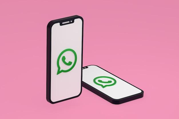 画面の携帯電話のwhatsappアイコン3dレンダリング