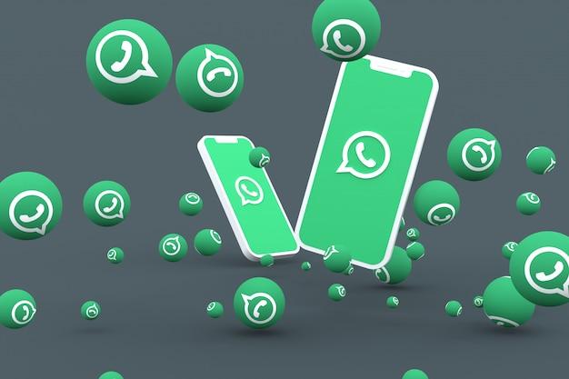 画面のスマートフォンまたはモバイル上のwhatsappアイコンとwhatsappの反応