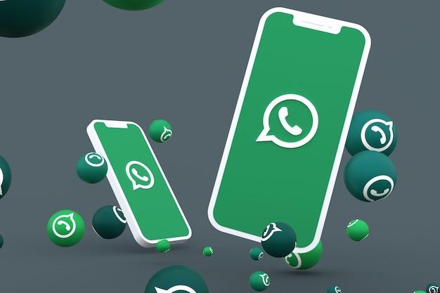 画面のスマートフォンまたはモバイルのwhatsappアイコンとwhatsappの反応