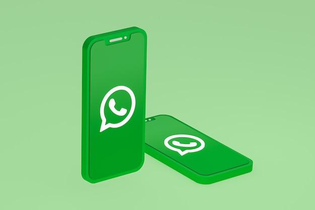 화면 스마트 폰 또는 휴대 전화의 whatsapp 아이콘 3d 렌더링