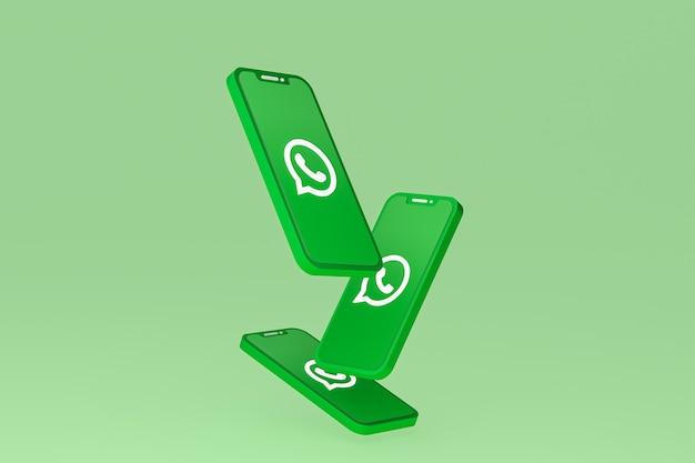 Значок whatsapp на экране смартфона или мобильного телефона 3d визуализации