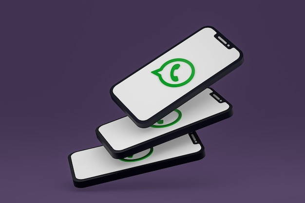 Значок whatsapp на экране смартфона или мобильного телефона 3d визуализации Premium Фотографии