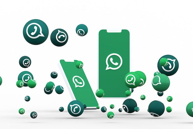 Whatsapp icon on screen smartphone or mobile and whatsapp reactions