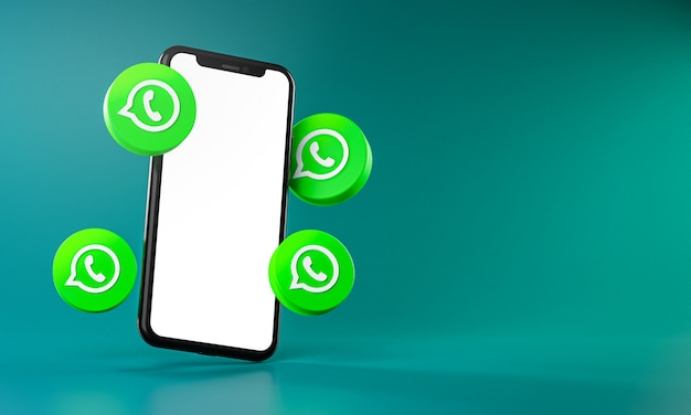 Whatsapp icons around smartphone app 3d rendering
