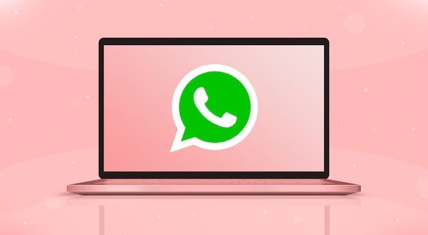 Логотип значков whatsapp на экране ноутбука вид спереди 3d