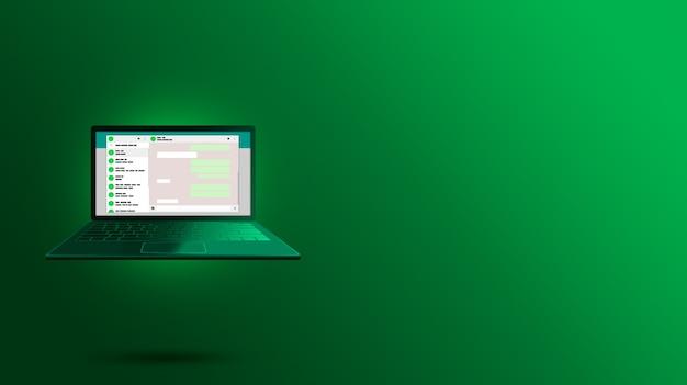 緑のノートパソコンの画面デザインのwhatsappインターフェイス