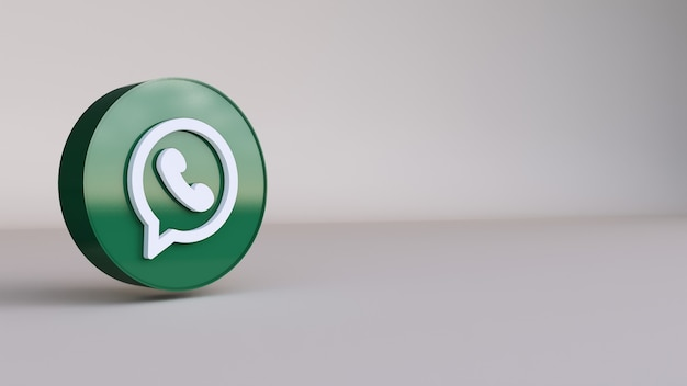 Whatsapp 로고 3d 렌더링. 계정 프로모션 템플릿.