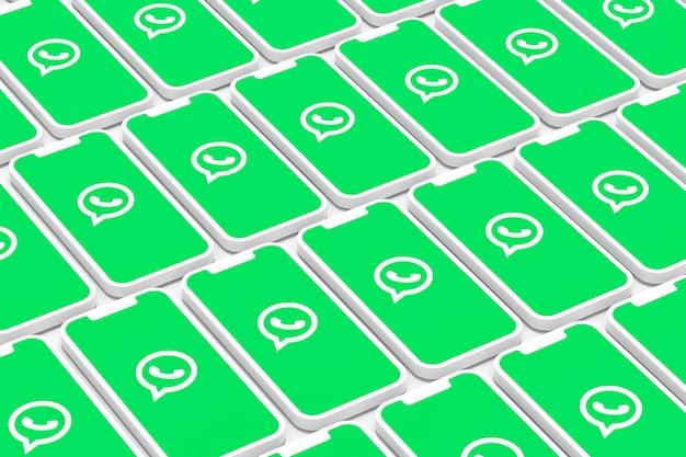 Whatsappロゴ画面スマートフォンまたはモバイル3dレンダリングの背景