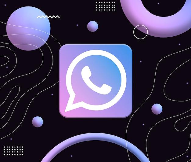 미적 네온 모양의 배경에 whatsapp 로고 아이콘 3d
