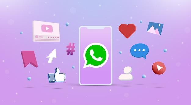 Значок логотипа whatsapp на телефоне с значками социальных сетей вокруг 3d