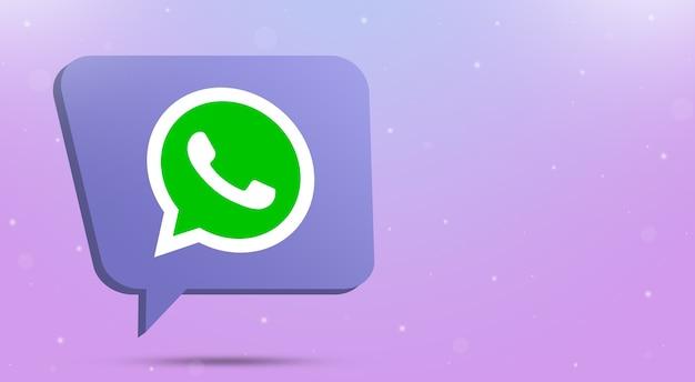 Whatsapp logo icon on speech bubble 3d