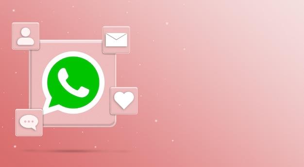 소셜 미디어 활동이있는 whatsapp 로고 아이콘 3 렌더링