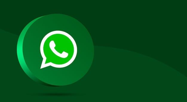 Минималистичный дизайн логотипа whatsapp на круге 3d