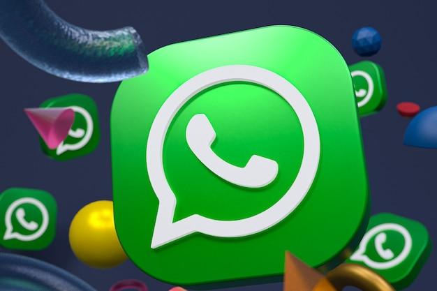 추상적 인 기하학적 배경에 whatsapp 로고