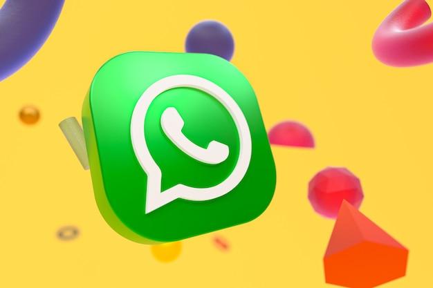 추상적 인 기하학 배경에 whatsapp 로고