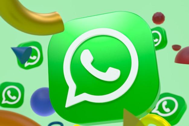 Логотип whatsapp на фоне абстрактной геометрии