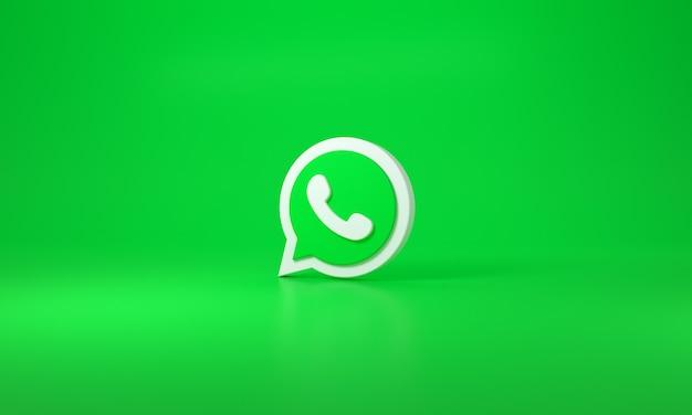녹색 배경에 whatsapp 로고입니다. 3d 렌더링.