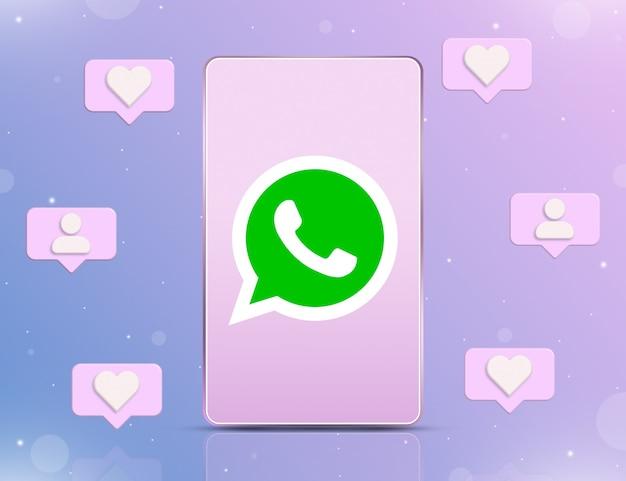 3d 주변의 새로운 좋아요 및 추종자의 알림 아이콘이 있는 전화 화면의 whatsapp 로고