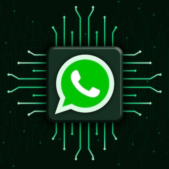 Логотип whatsapp на реалистичном фоне технологии процессора 3d