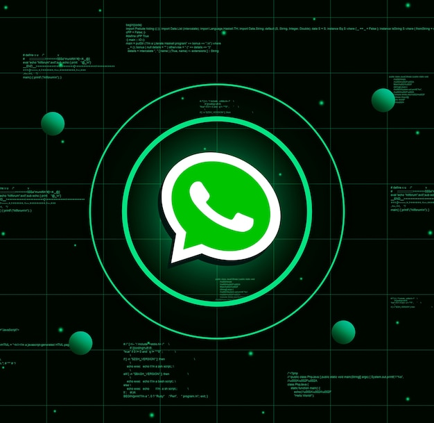 Логотип whatsapp на фоне реалистичных технологий