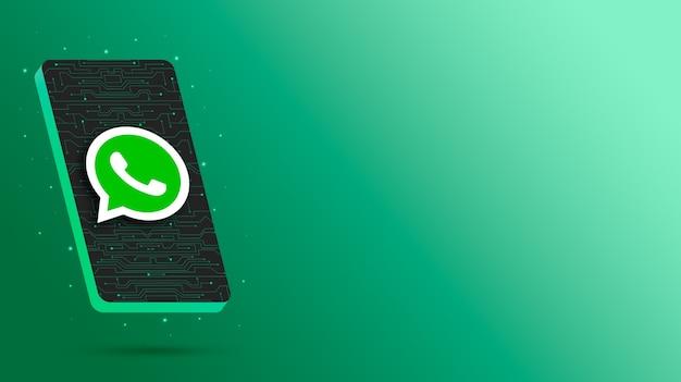 Логотип whatsapp на технологическом дисплее телефона 3d визуализации Premium Фотографии