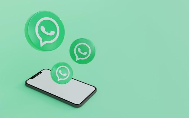 스마트 폰 녹색 배경 디자인이 포함 된 whatsapp 로고 깨끗하고 간단한 3d 렌더링 그림