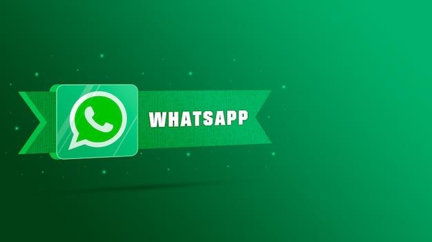 기술 플레이트에 비문이있는 whatsapp 로고 3d