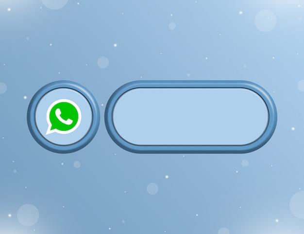 사용자 페이지 3d의 정보 또는 링크에 대한 빈 양식이 있는 whatsapp 네트워크 아이콘