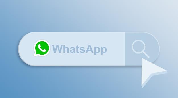 Whatsapp на панели поиска с курсором мыши 3d