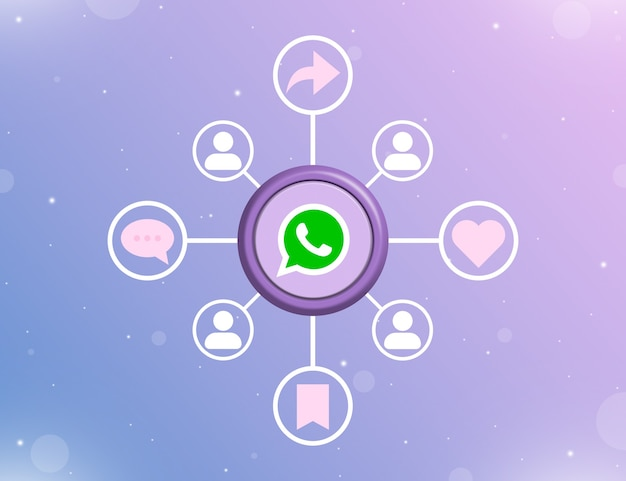소셜 활동 유형 및 사용자 아이콘 3d가 있는 둥근 버튼의 whatsapp 소셜 미디어 로고