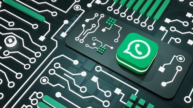 ネオンライト回路の背景を持つwhatsappソーシャルメディア