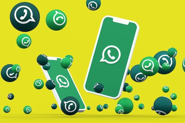 Значок whatsapp на экране смартфона или мобильного телефона и реакции whatsapp
