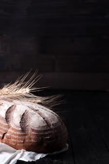 小麦、パン、木製、テーブル