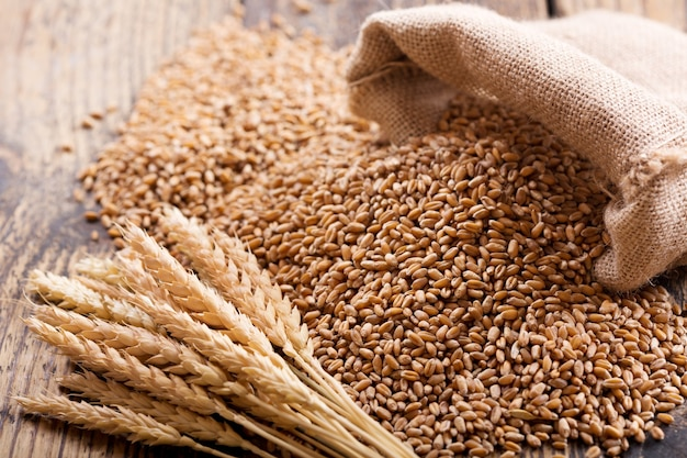 木製のテーブルの上の小麦の耳と穀物