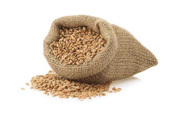 白い表面に分離された小麦粒