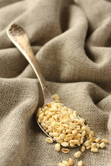 Wheat grains in metal spoon on sackcloth background