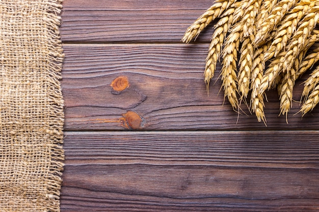 Wheat grains on wooden plank background harvest concept