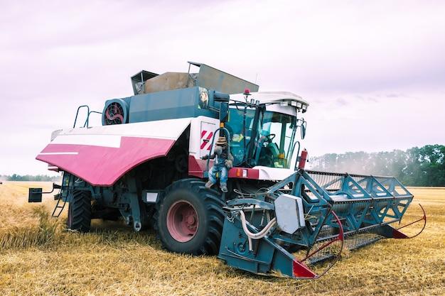 필드에서 밀 수확 기계입니다. 농업.