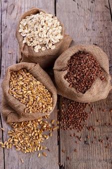 Wheat, oatmeal and buckwheat