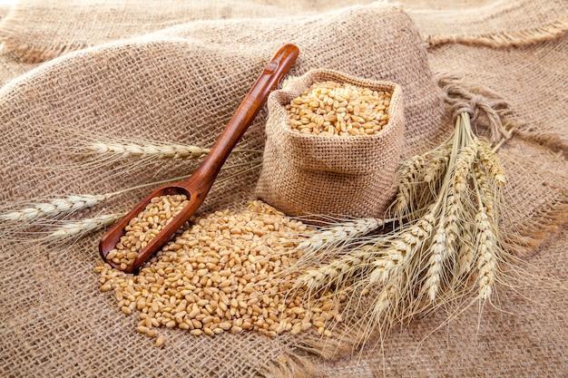 Wheat in sackcloth bags