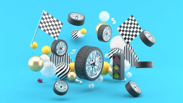Wheel floats amidst flags and traffic lights, and colorful balls on blue. 3d render