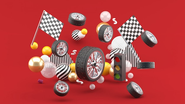 Wheel floats amidst flags and traffic lights, and colorful balls on red. 3d render