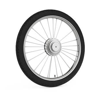 Wheel of a mountain bike on a white background. 3d rendering