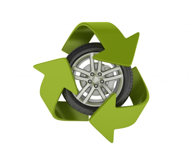 Wheel with recycling symbol