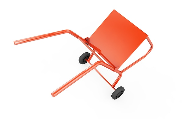 Wheelbarrow close-up on a white. 3d render image.