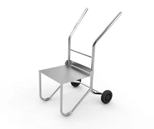 Wheelbarrow close-up on a white. 3d render