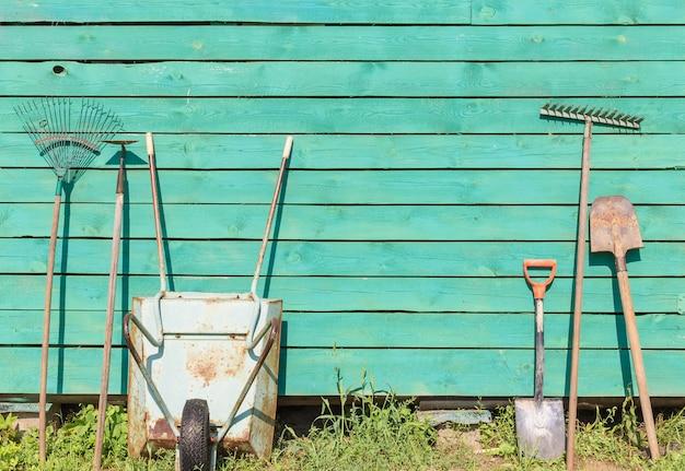 Wheelbarrow and garden istruments