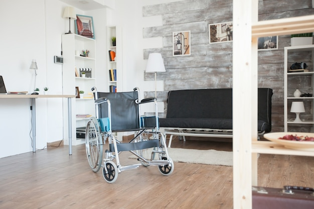 Wheelchair for disabled people in private hospital room. no patient in the room in the private nursing home. therapy mobility support elderly and disabled walking disability impairment recovery paraly